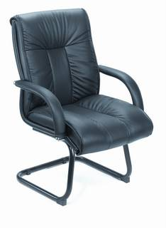 Italian Top Grain Leather Guest Chair Without Wheel