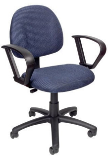 Thick Padded Seat And Back Task Chair With Loop Arm - Blue