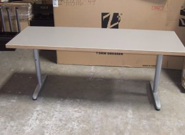 Training Tables Chrome Base - 24 x 72 - (Gray & Wood Laminate)