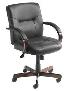 Black Leather Executive Seating Knee-Tilt Mechanism