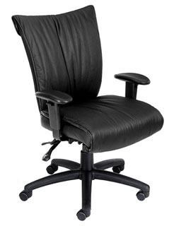 Black Leather Mid Back Executive Chair - Seat Slider