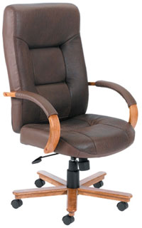Brown Bomber Leather Executive Chair With Knee-Tilt Mechanism