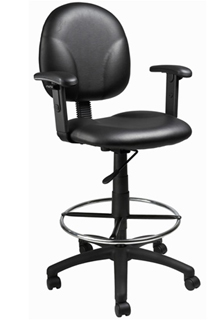 Caressoft - Contoured Back & Pneumatic Seat Adjustable Arm