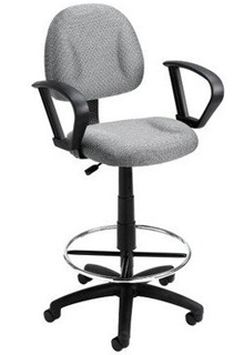 Contoured Back & Seat - Loop Arms - Grey