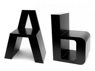 black chairs in the shape of the letter A and B