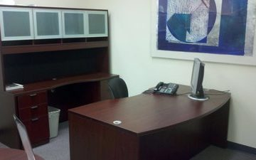 Light Bow front desk workstation