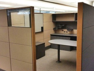 Herman Miller Ethospace cubicle in tan and grey