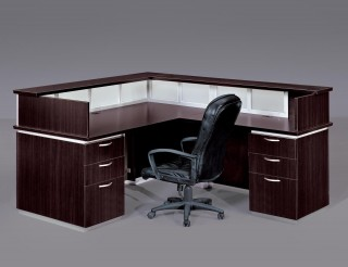 brown cubicle with black chair on wheels
