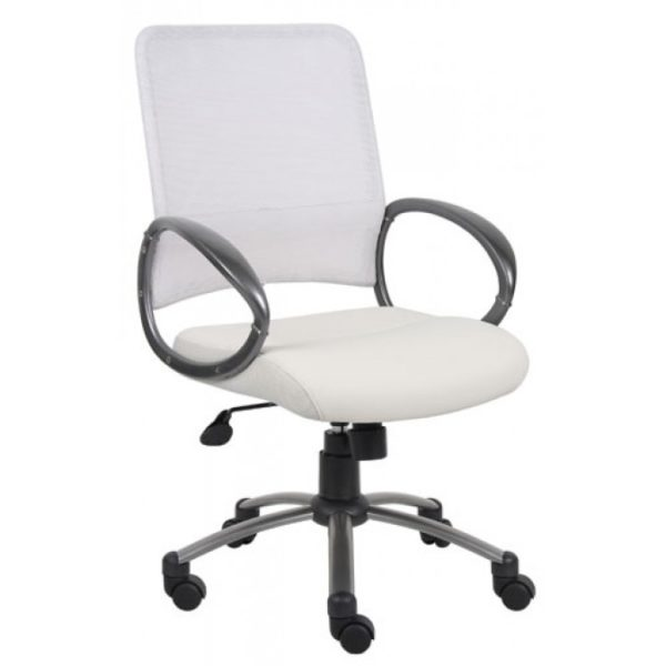 white office chair on wheels