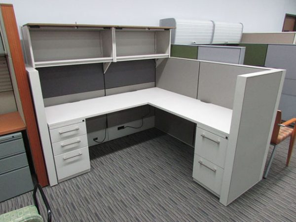 New Haworth Office Cubicle with Locking Drawers
